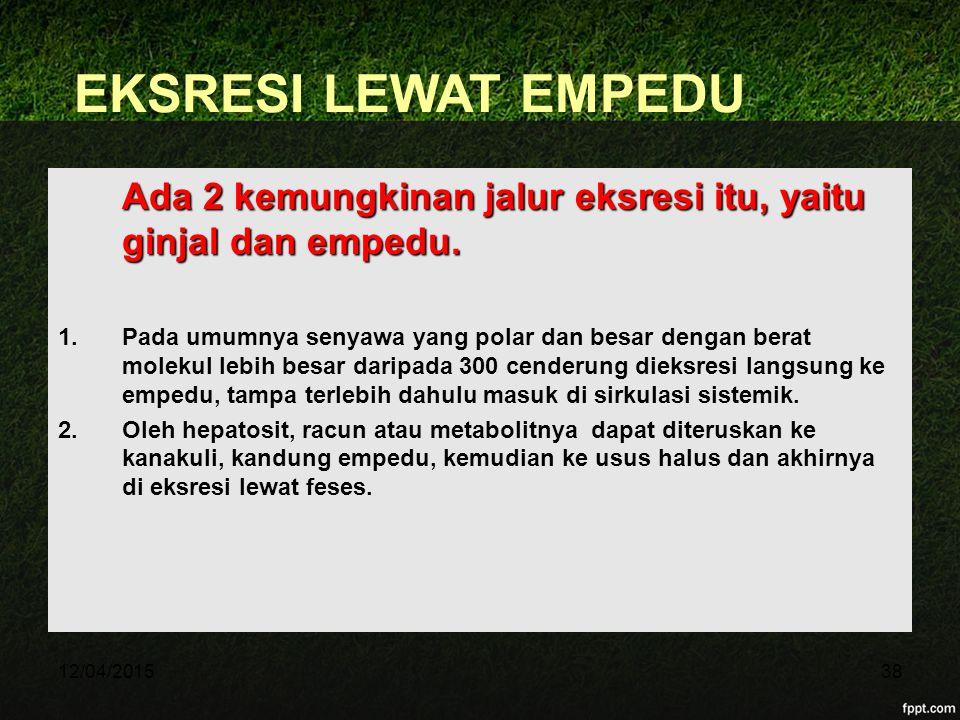 11/04/2017 EKSRESI LEWAT EMPEDU. Ada 2 kemungkinan jalur eksresi itu, yaitu ginjal dan empedu.