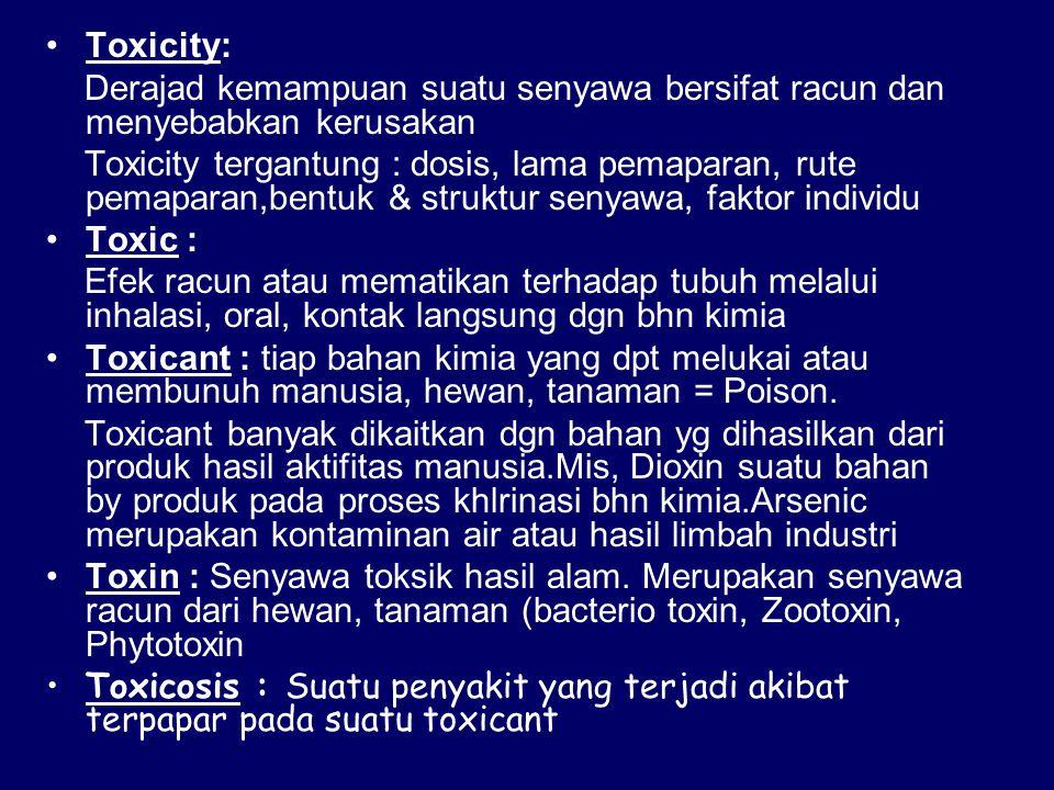 Toxicity: Derajad kemampuan suatu senyawa bersifat racun dan menyebabkan kerusakan.