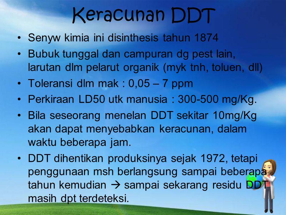 Keracunan DDT Senyw kimia ini disinthesis tahun 1874