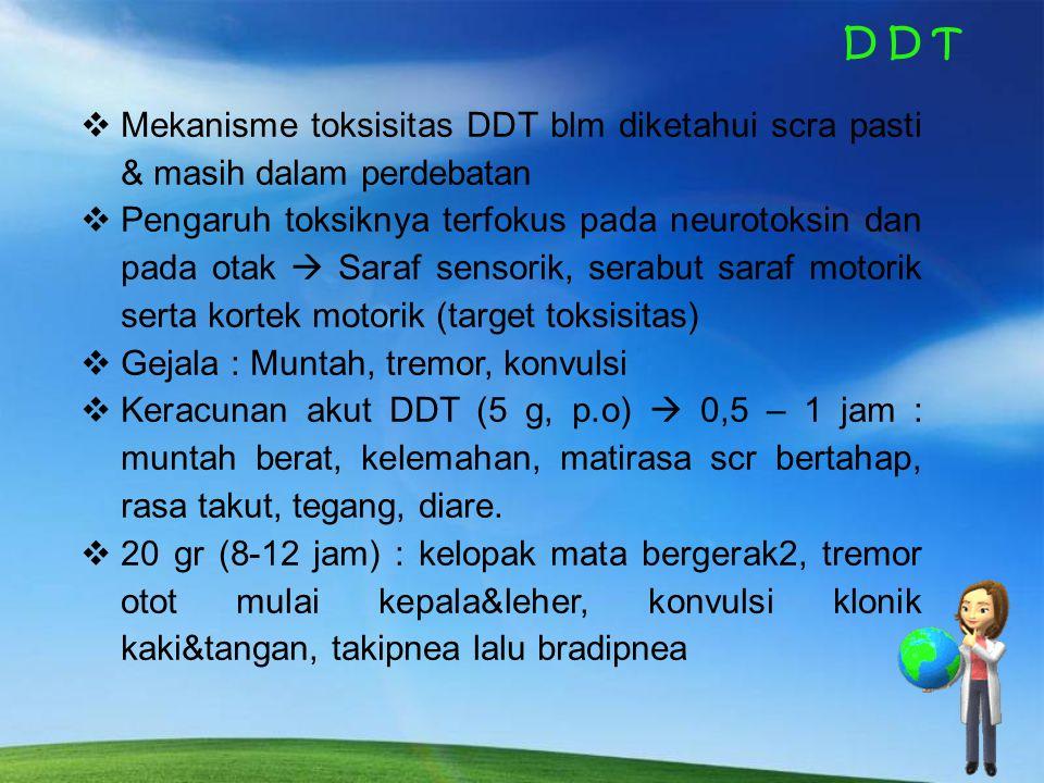 D D T Mekanisme toksisitas DDT blm diketahui scra pasti & masih dalam perdebatan.