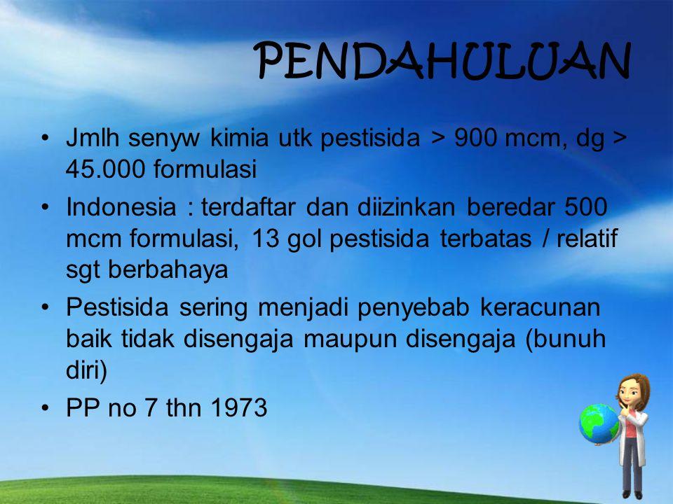 PENDAHULUAN Jmlh senyw kimia utk pestisida > 900 mcm, dg > 45.000 formulasi.