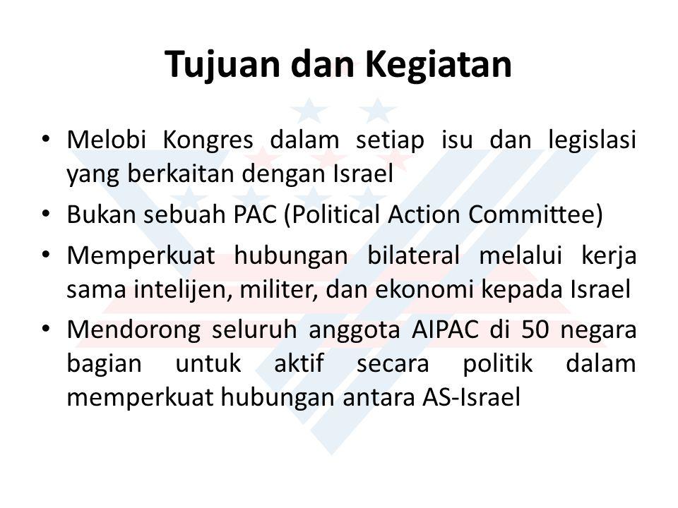 Tujuan dan Kegiatan Melobi Kongres dalam setiap isu dan legislasi yang berkaitan dengan Israel. Bukan sebuah PAC (Political Action Committee)