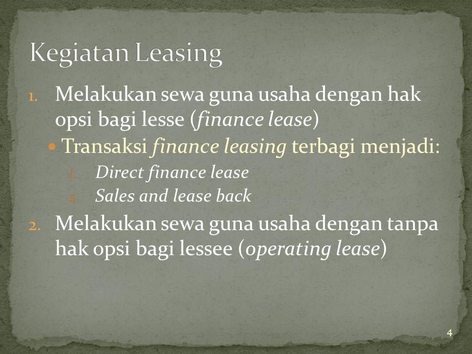 Kegiatan Leasing Melakukan sewa guna usaha dengan hak opsi bagi lesse (finance lease) Transaksi finance leasing terbagi menjadi: