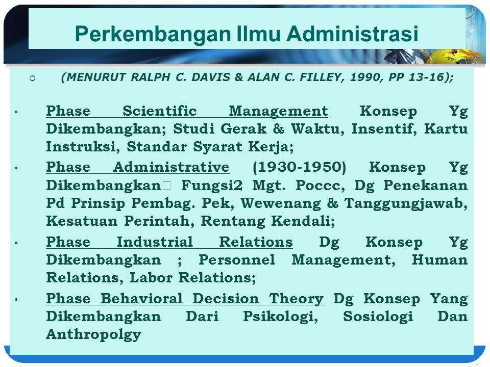 Perkembangan Ilmu Administrasi