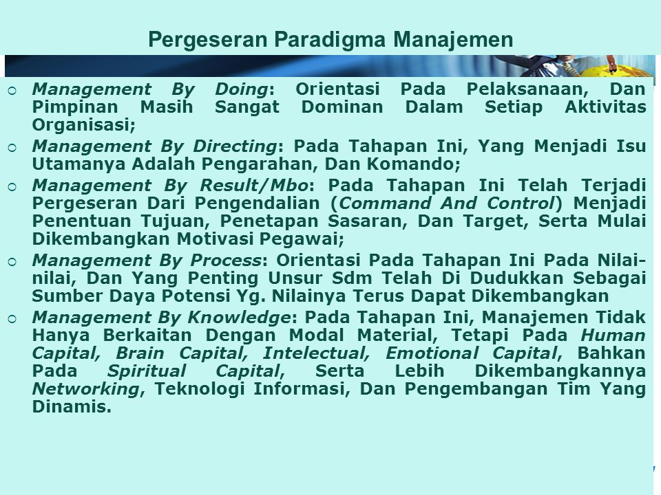 Pergeseran Paradigma Manajemen