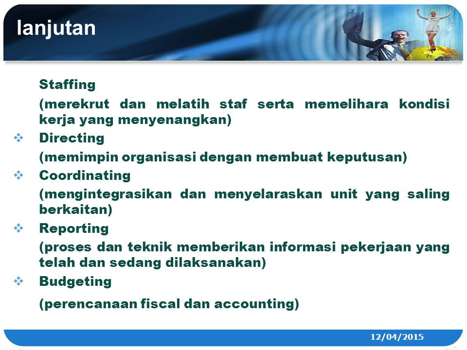 lanjutan Staffing (perencanaan fiscal dan accounting)