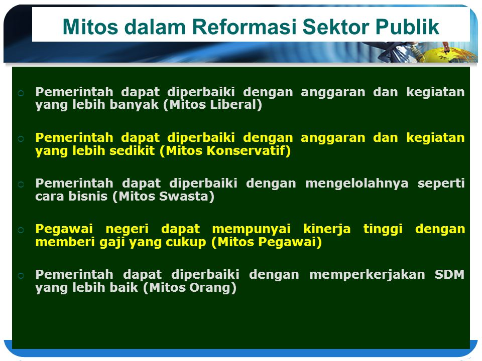 Mitos dalam Reformasi Sektor Publik