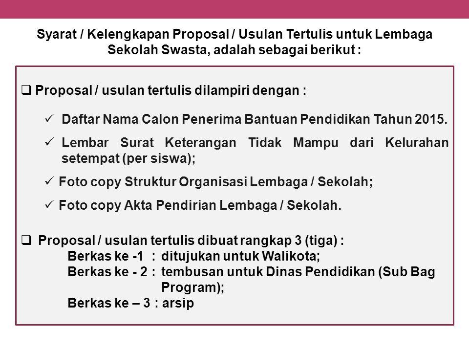 Syarat / Kelengkapan Proposal / Usulan Tertulis untuk Lembaga Sekolah Swasta, adalah sebagai berikut :