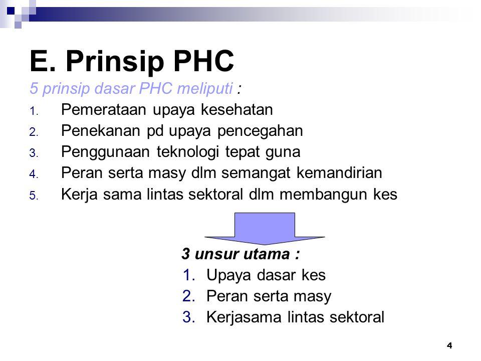 E. Prinsip PHC 5 prinsip dasar PHC meliputi :