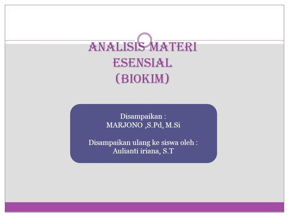 ANALISIS MATERI ESENSIAL (BIOKIM)