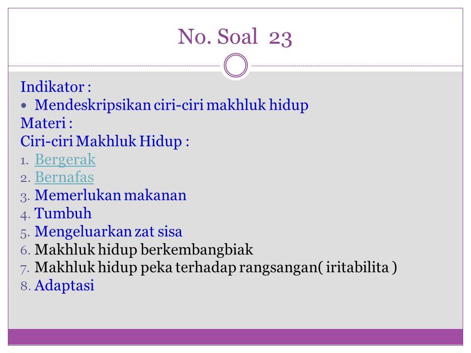 No. Soal 23 Indikator : Mendeskripsikan ciri-ciri makhluk hidup