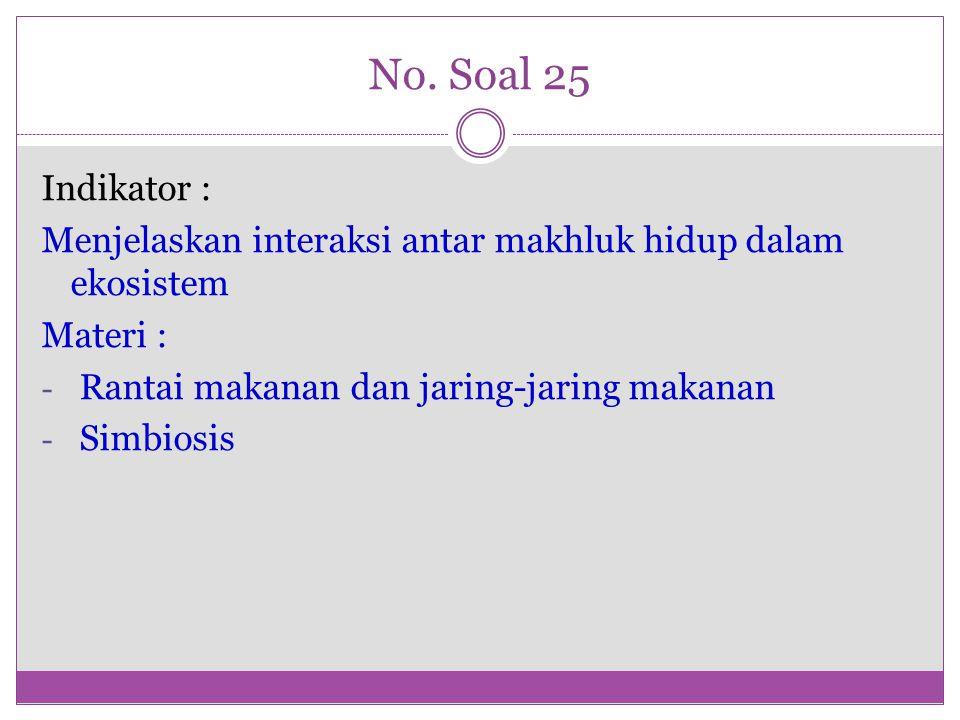 No. Soal 25 Indikator : Menjelaskan interaksi antar makhluk hidup dalam ekosistem. Materi : Rantai makanan dan jaring-jaring makanan.