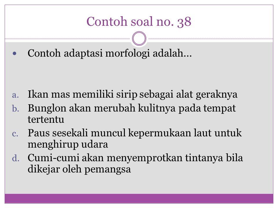 Contoh soal no. 38 Contoh adaptasi morfologi adalah...