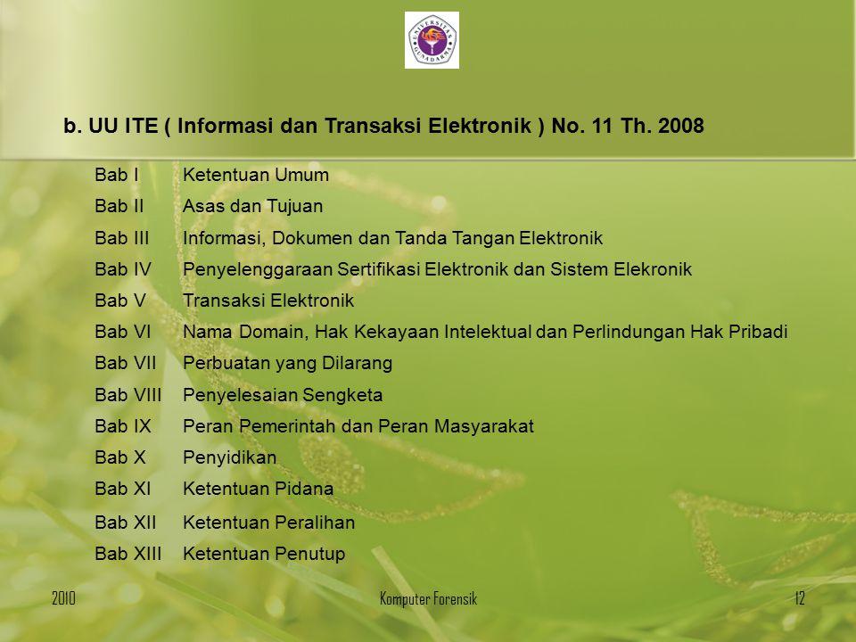 b. UU ITE ( Informasi dan Transaksi Elektronik ) No. 11 Th. 2008
