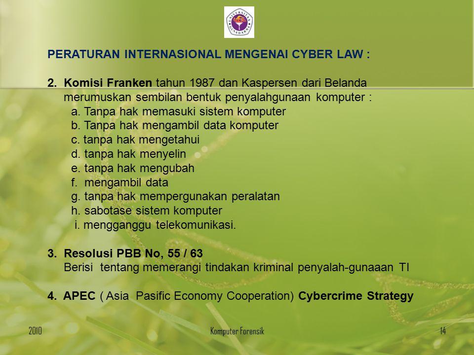 PERATURAN INTERNASIONAL MENGENAI CYBER LAW :
