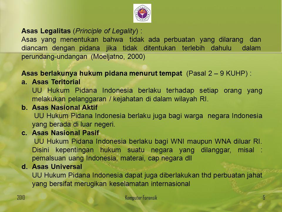 Asas Legalitas (Principle of Legality) :