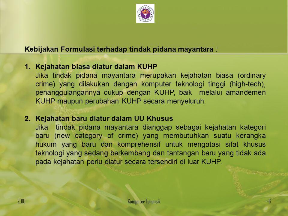 Kebijakan Formulasi terhadap tindak pidana mayantara :