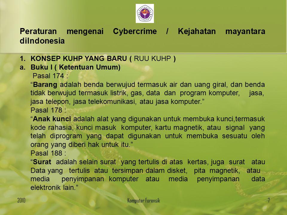 Peraturan mengenai Cybercrime / Kejahatan mayantara diIndonesia