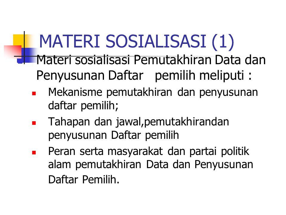 MATERI SOSIALISASI (1) Materi sosialisasi Pemutakhiran Data dan Penyusunan Daftar pemilih meliputi :