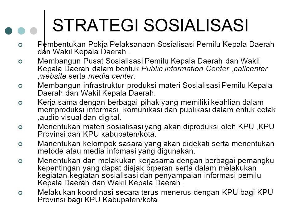 STRATEGI SOSIALISASI Pembentukan Pokja Pelaksanaan Sosialisasi Pemilu Kepala Daerah dan Wakil Kepala Daerah .