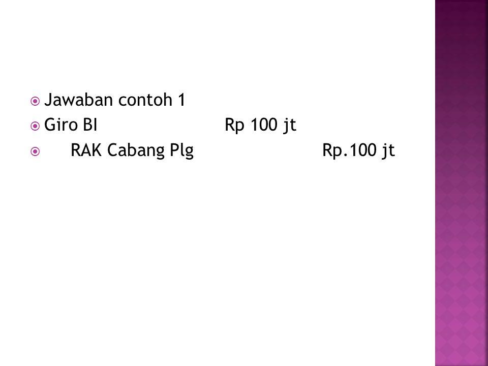 Jawaban contoh 1 Giro BI Rp 100 jt RAK Cabang Plg Rp.100 jt