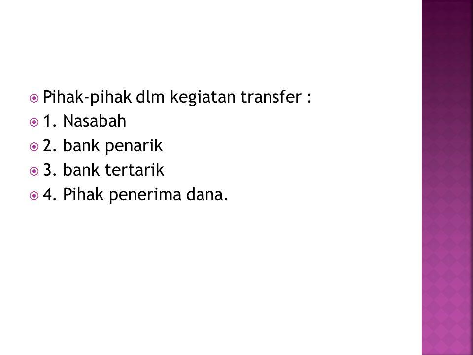 Pihak-pihak dlm kegiatan transfer :