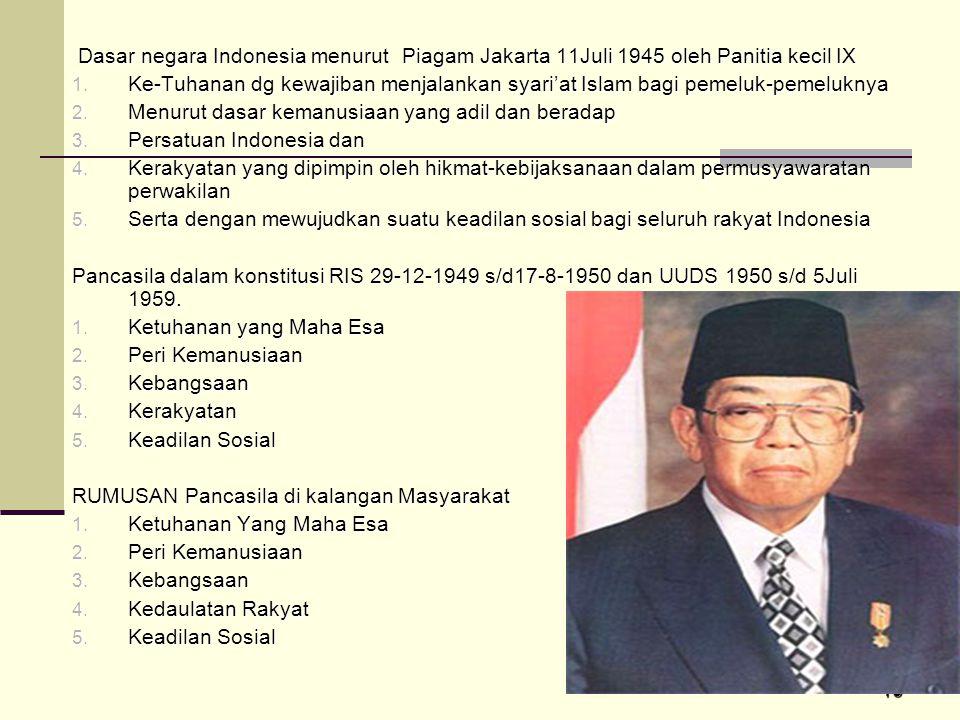 Dasar negara Indonesia menurut Piagam Jakarta 11Juli 1945 oleh Panitia kecil IX
