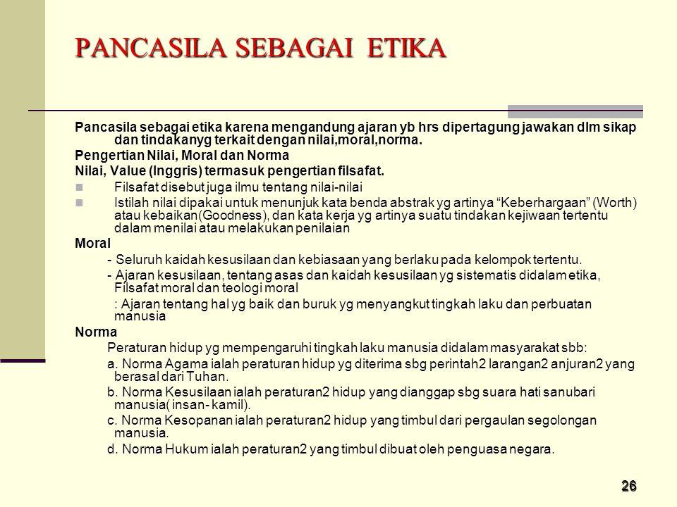PANCASILA SEBAGAI ETIKA