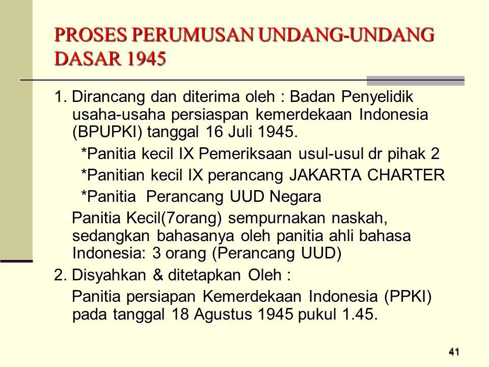 PROSES PERUMUSAN UNDANG-UNDANG DASAR 1945