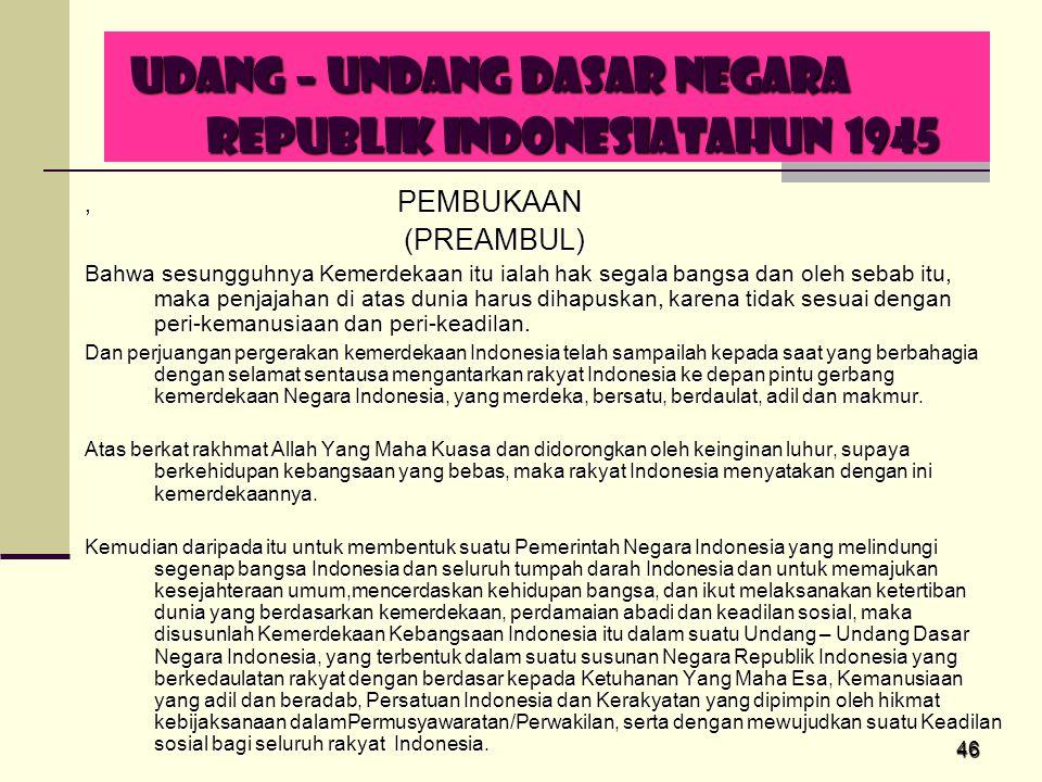 UDANG – UNDANG DASAR NEGARA REPUBLIK INDONESIATAHUN 1945