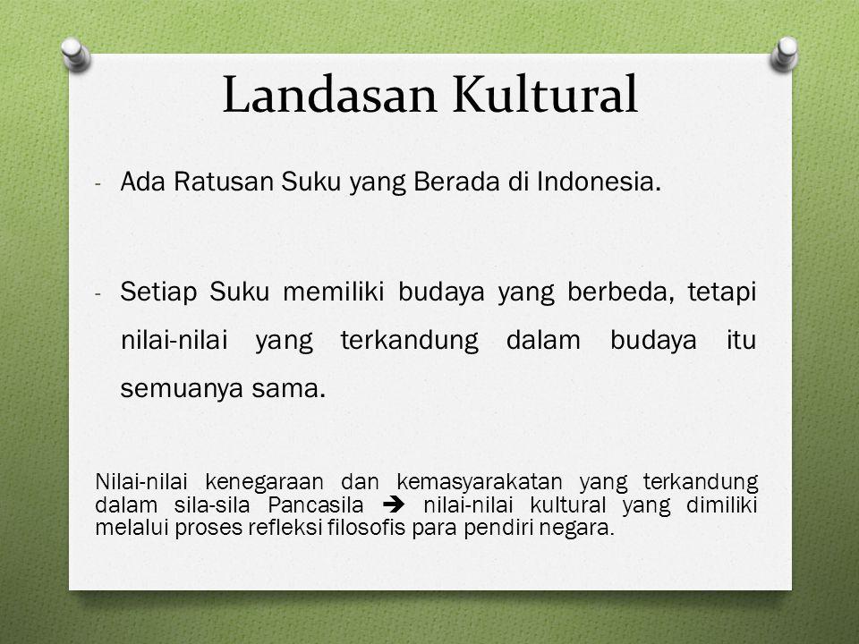 Landasan Kultural Ada Ratusan Suku yang Berada di Indonesia.