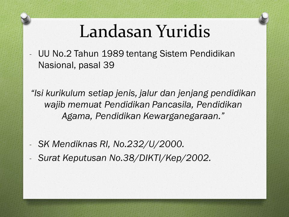 Landasan Yuridis UU No.2 Tahun 1989 tentang Sistem Pendidikan Nasional, pasal 39.