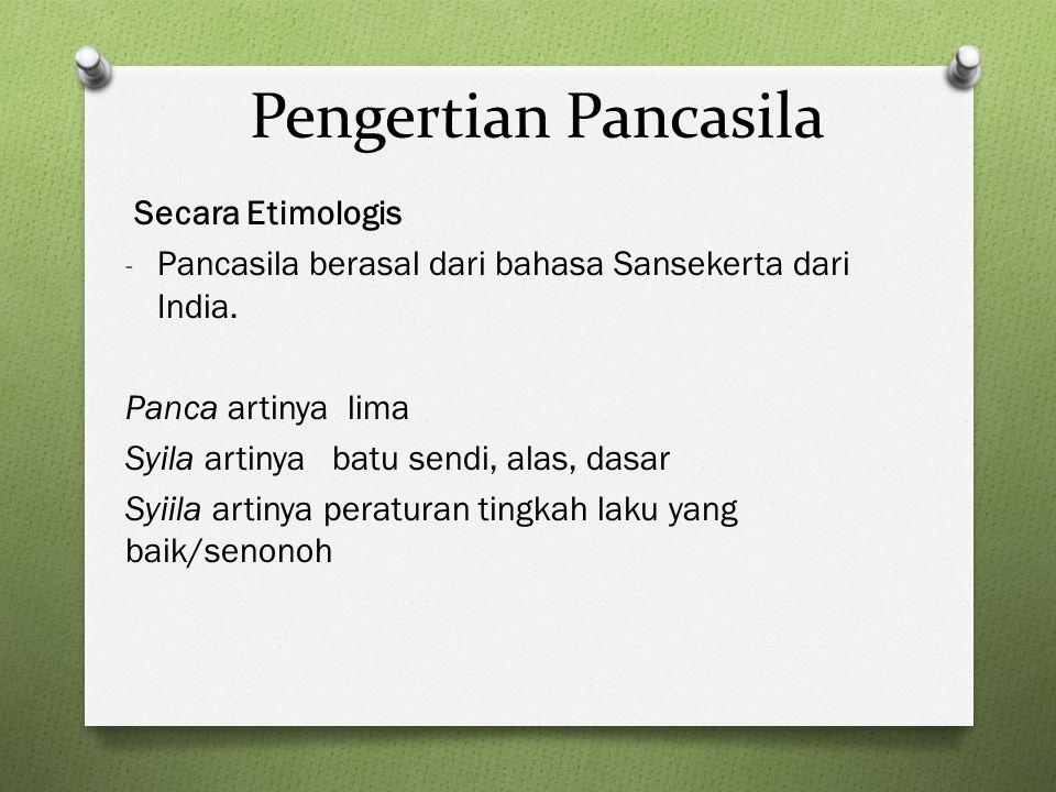Pengertian Pancasila Secara Etimologis