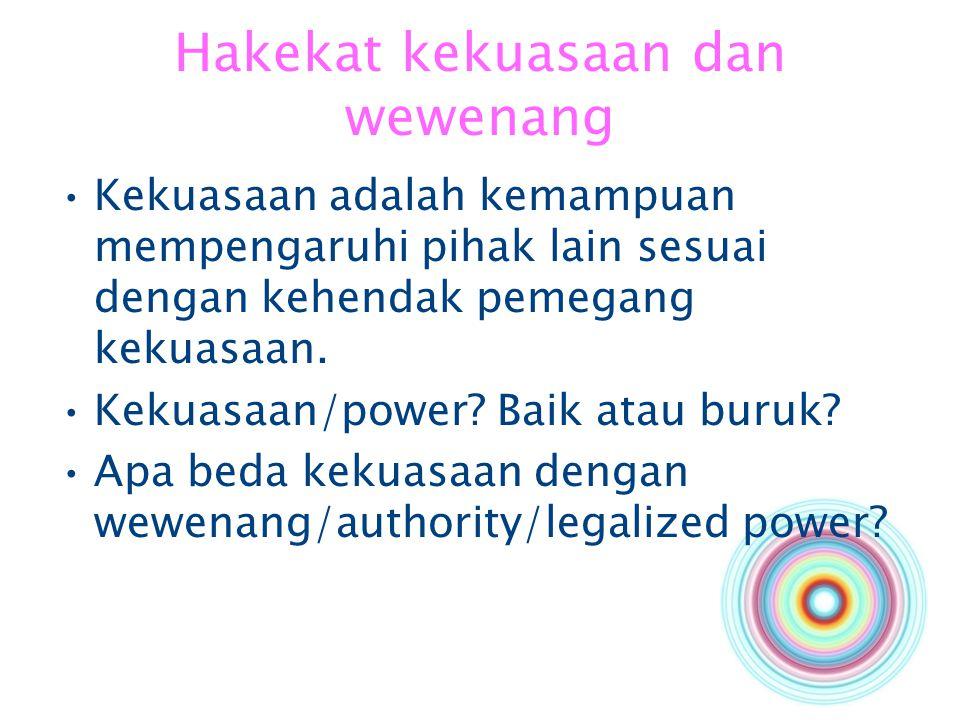 Hakekat kekuasaan dan wewenang