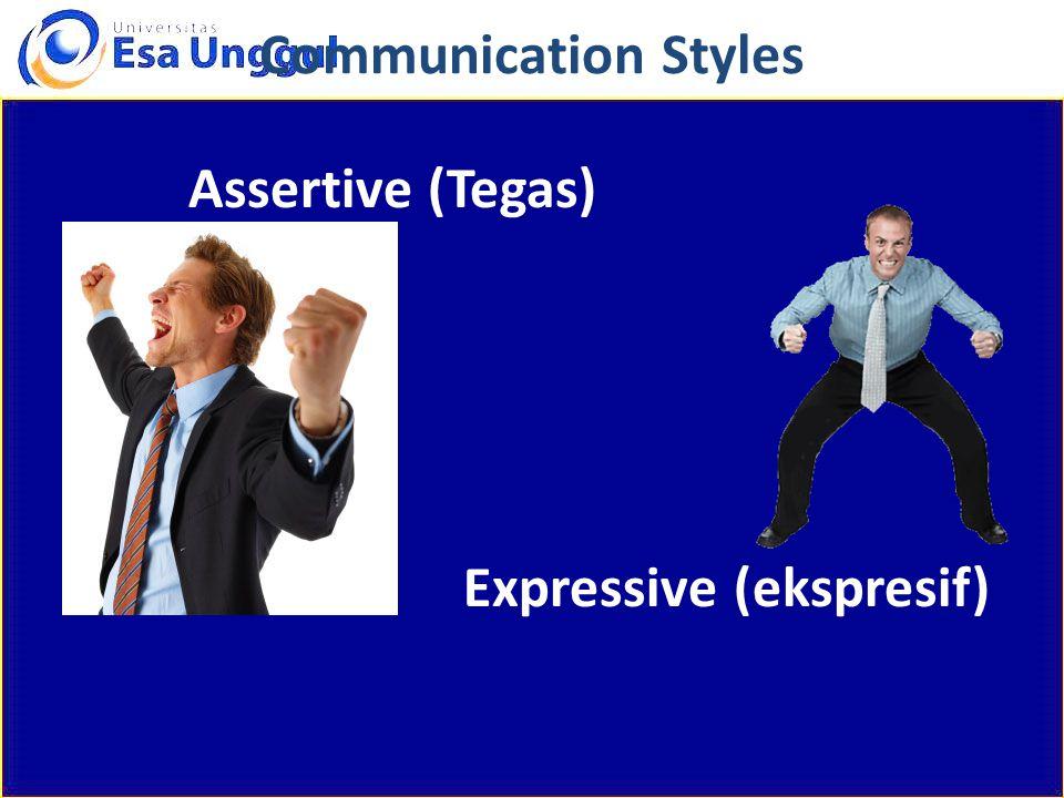 Communication Styles Assertive (Tegas) Expressive (ekspresif)