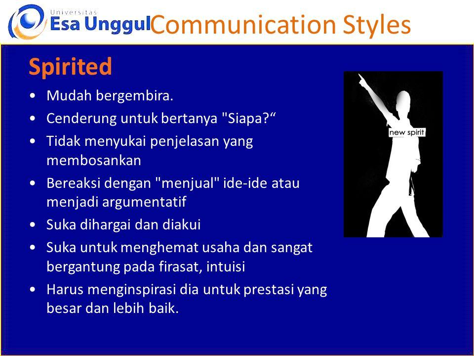 Communication Styles Spirited Mudah bergembira.