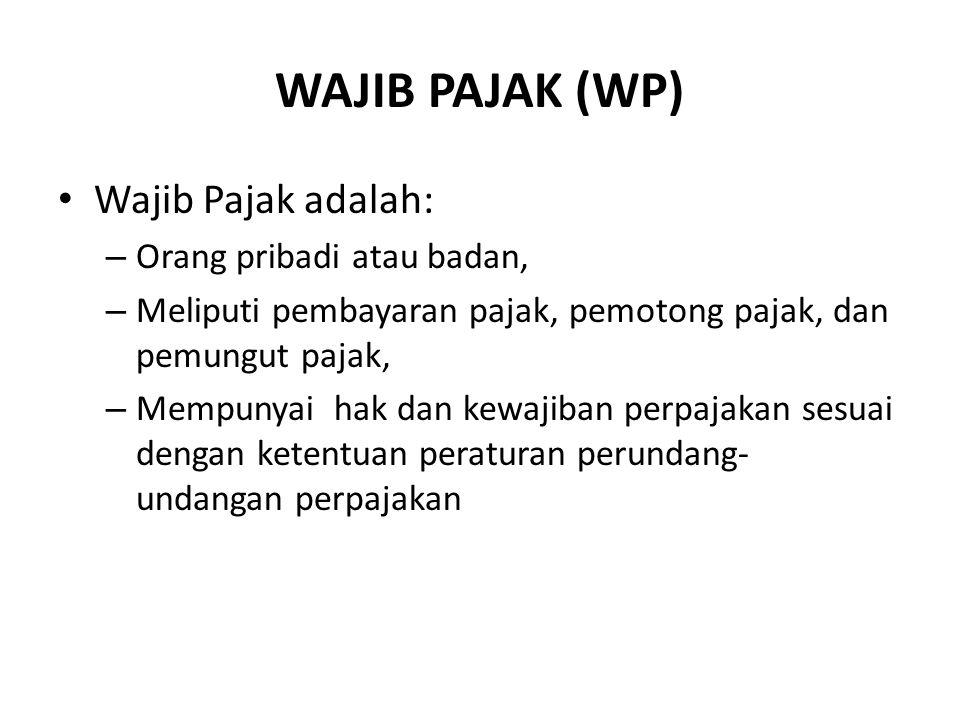 WAJIB PAJAK (WP) Wajib Pajak adalah: Orang pribadi atau badan,
