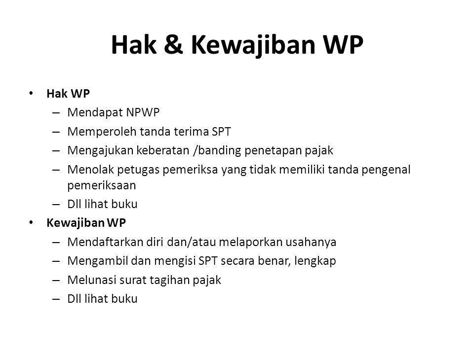 Hak & Kewajiban WP Hak WP Mendapat NPWP Memperoleh tanda terima SPT