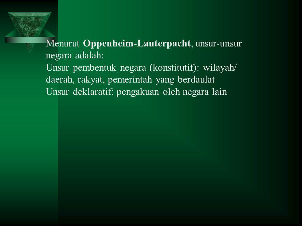 Menurut Oppenheim-Lauterpacht, unsur-unsur negara adalah: