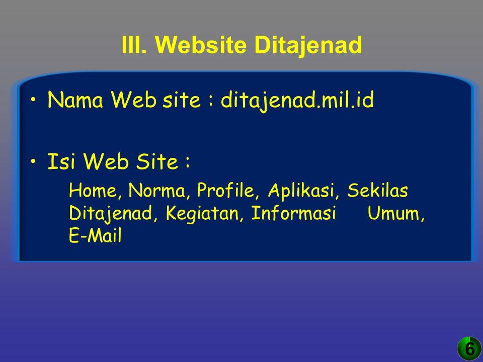 III. Website Ditajenad Nama Web site : ditajenad.mil.id Isi Web Site :