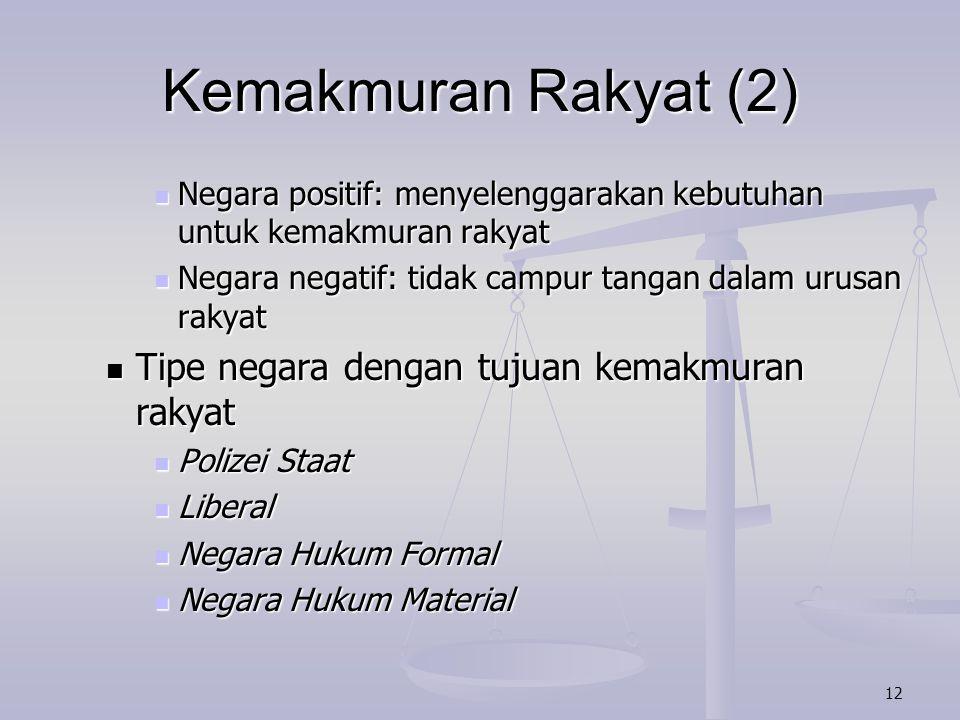 Kemakmuran Rakyat (2) Tipe negara dengan tujuan kemakmuran rakyat