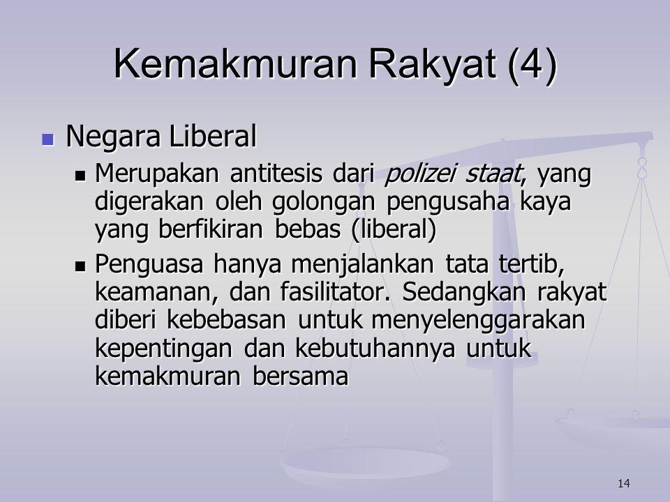 Kemakmuran Rakyat (4) Negara Liberal