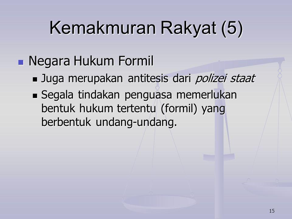 Kemakmuran Rakyat (5) Negara Hukum Formil