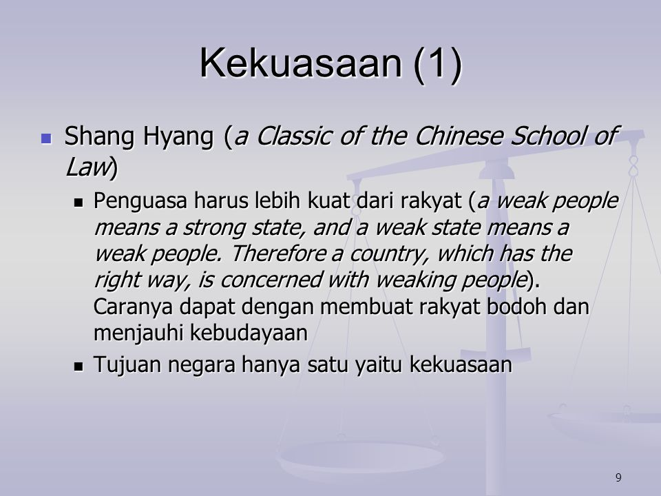 Kekuasaan (1) Shang Hyang (a Classic of the Chinese School of Law)