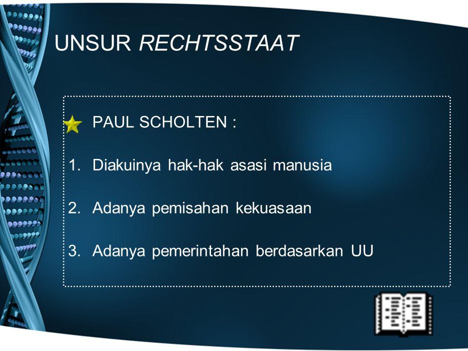 UNSUR RECHTSSTAAT PAUL SCHOLTEN : Diakuinya hak-hak asasi manusia