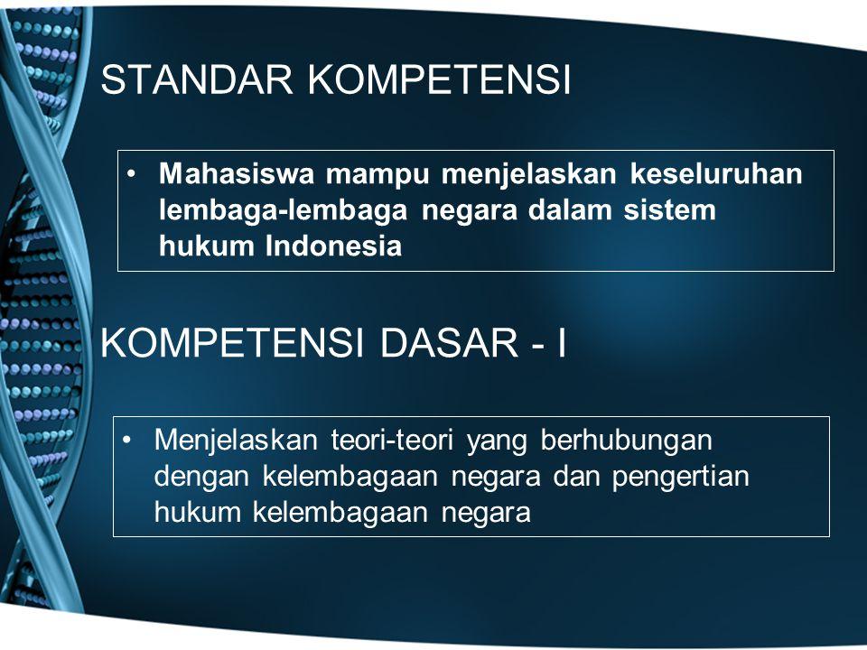 STANDAR KOMPETENSI KOMPETENSI DASAR - I