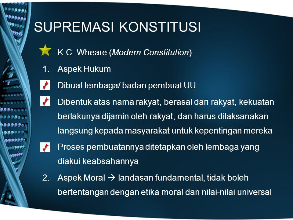 SUPREMASI KONSTITUSI K.C. Wheare (Modern Constitution) Aspek Hukum