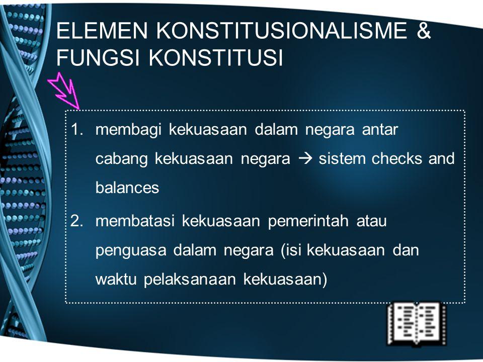 ELEMEN KONSTITUSIONALISME & FUNGSI KONSTITUSI