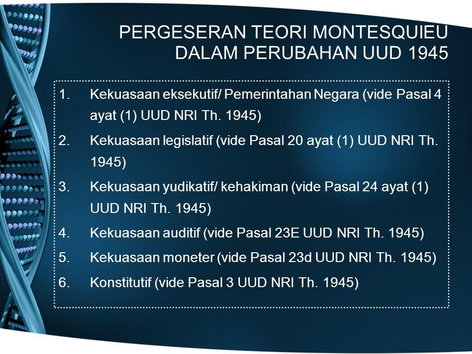 PERGESERAN TEORI MONTESQUIEU DALAM PERUBAHAN UUD 1945