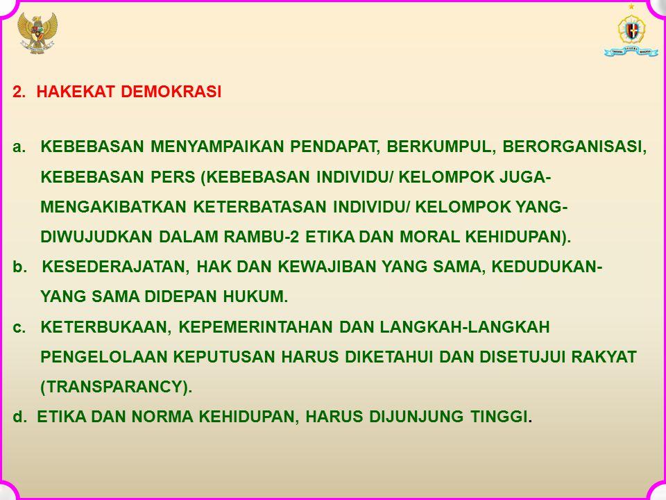 2. HAKEKAT DEMOKRASI a. KEBEBASAN MENYAMPAIKAN PENDAPAT, BERKUMPUL, BERORGANISASI, KEBEBASAN PERS (KEBEBASAN INDIVIDU/ KELOMPOK JUGA-